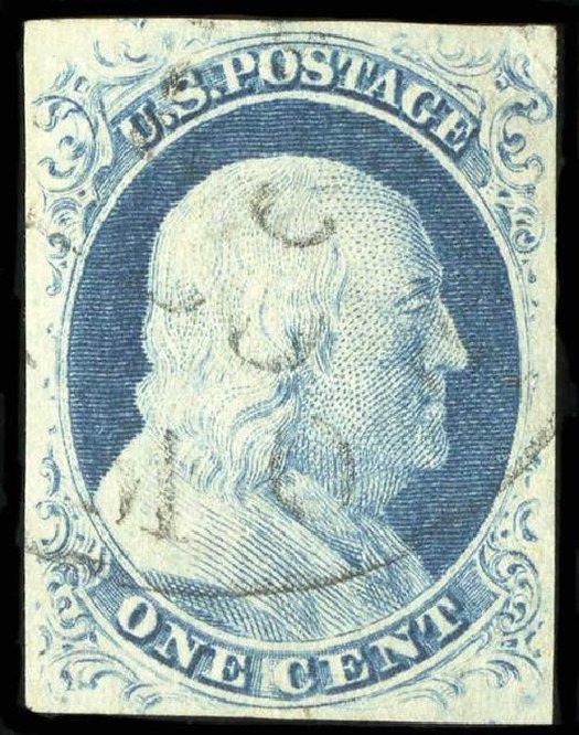 Value of US Stamp Scott Catalogue #9 - 1852 1c Franklin. Spink Shreves Galleries, Jul 2015, Sale 151, Lot 26