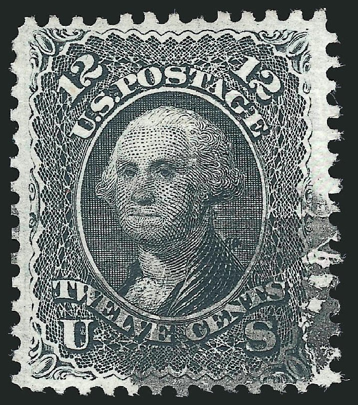 US Stamps Value Scott #90 - 12c 1868 Washington Grill. Robert Siegel Auction Galleries, Feb 2015, Sale 1092, Lot 1069