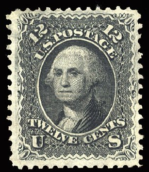 Values of US Stamps Scott Catalogue 90: 1868 12c Washington Grill. Cherrystone Auctions, May 2015, Sale 201505, Lot 11