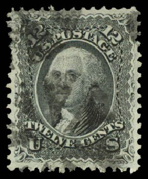Costs of US Stamps Scott Catalogue #90: 12c 1868 Washington Grill. Daniel Kelleher Auctions, Aug 2015, Sale 672, Lot 2295