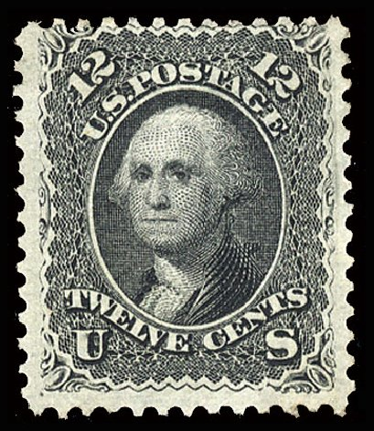 US Stamps Prices Scott Catalog # 90 - 1868 12c Washington Grill. Cherrystone Auctions, Jul 2015, Sale 201507, Lot 43