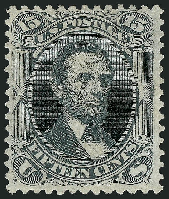 Cost of US Stamps Scott #91: 1868 15c Lincoln Grill. Robert Siegel Auction Galleries, Dec 2014, Sale 1090, Lot 1227