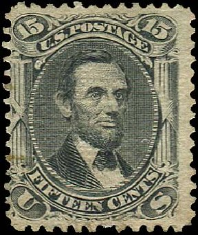 Prices of US Stamp Scott 91: 15c 1868 Lincoln Grill. Regency-Superior, Jan 2015, Sale 109, Lot 698