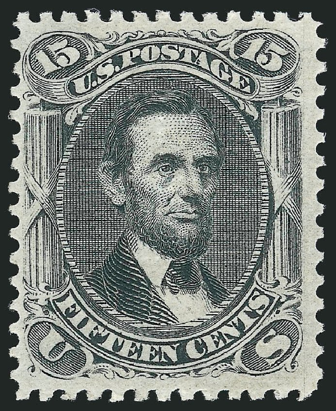 Cost of US Stamps Scott Cat. 91: 15c 1868 Lincoln Grill. Robert Siegel Auction Galleries, Feb 2015, Sale 1092, Lot 1070