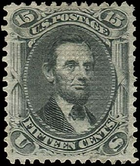 Prices of US Stamps Scott Catalog #91: 1868 15c Lincoln Grill. Regency-Superior, Aug 2015, Sale 112, Lot 201