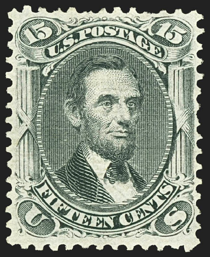 US Stamp Values Scott # 91: 15c 1868 Lincoln Grill. Robert Siegel Auction Galleries, Jul 2015, Sale 1107, Lot 204