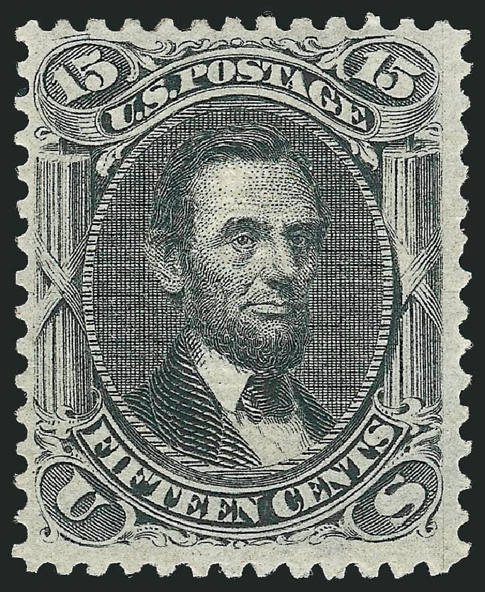 Values of US Stamp Scott Cat. 91: 1868 15c Lincoln Grill. Robert Siegel Auction Galleries, Apr 2015, Sale 1096, Lot 175