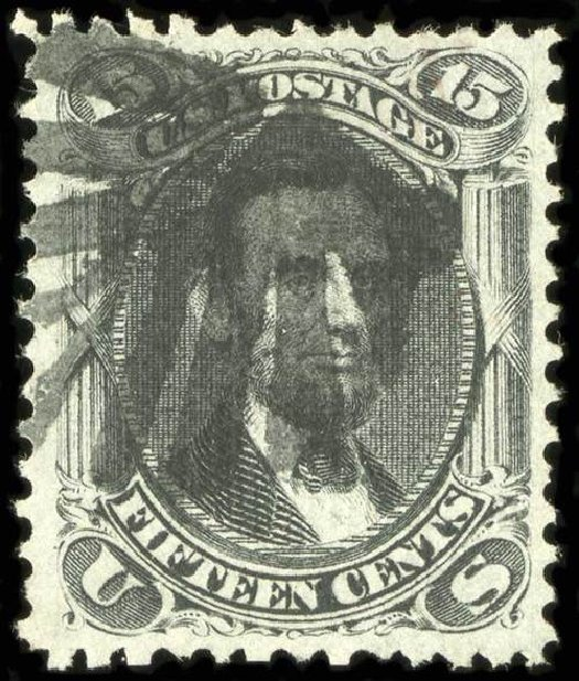 Cost of US Stamps Scott Cat. #91 - 1868 15c Lincoln Grill. Spink Shreves Galleries, Jul 2015, Sale 151, Lot 85