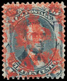 Prices of US Stamps Scott Cat. 91: 15c 1868 Lincoln Grill. Schuyler J. Rumsey Philatelic Auctions, Apr 2015, Sale 60, Lot 2062