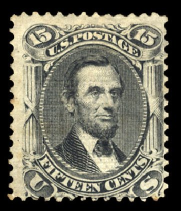US Stamp Value Scott Catalogue #91: 1868 15c Lincoln Grill. Cherrystone Auctions, Jan 2015, Sale 201501, Lot 133