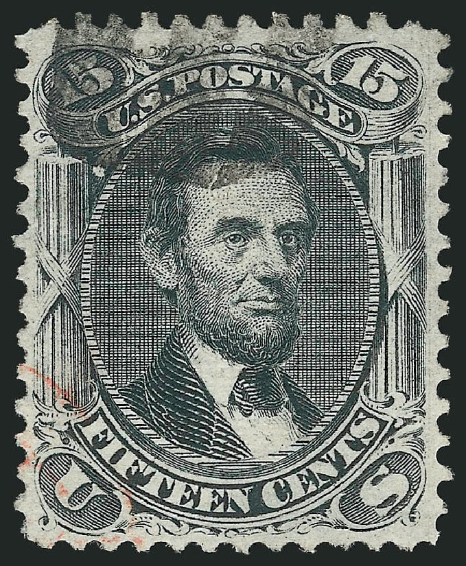 Price of US Stamps Scott 91 - 1868 15c Lincoln Grill. Robert Siegel Auction Galleries, Apr 2015, Sale 1096, Lot 176