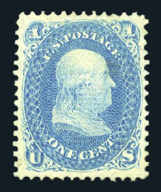 Prices of US Stamp Scott #92 - 1868 1c Franklin Grill. Harmer-Schau Auction Galleries, Aug 2015, Sale 106, Lot 1438