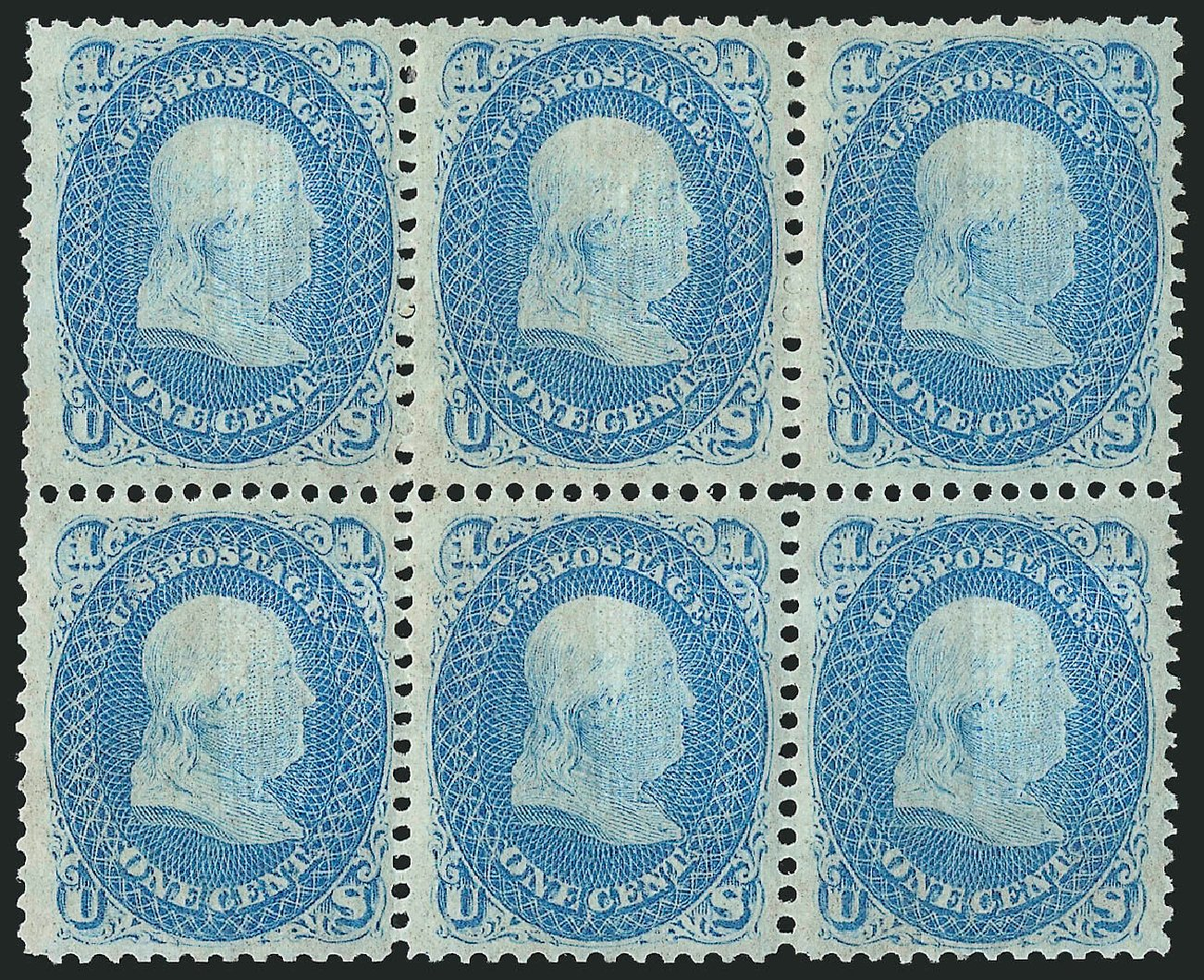 Price of US Stamp Scott Catalog #92 - 1c 1868 Franklin Grill. Robert Siegel Auction Galleries, Apr 2015, Sale 1096, Lot 178