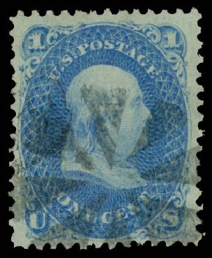 US Stamp Value Scott Cat. # 92: 1c 1868 Franklin Grill. Daniel Kelleher Auctions, Aug 2015, Sale 672, Lot 2299