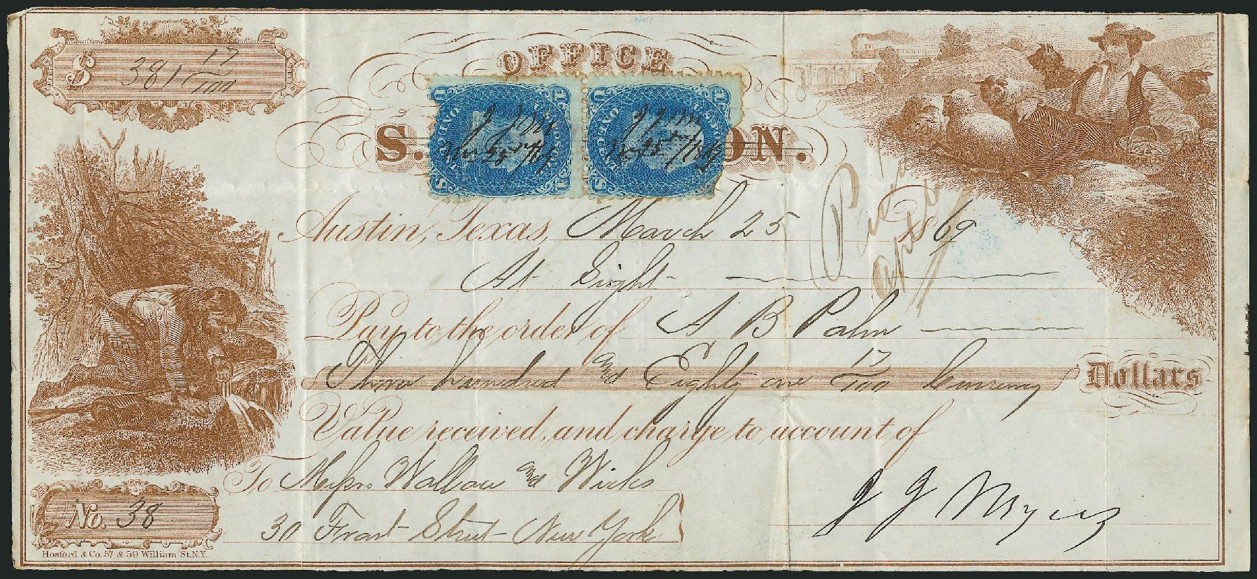 US Stamp Prices Scott Catalogue # 92: 1868 1c Franklin Grill. Robert Siegel Auction Galleries, Jun 2015, Sale 1105, Lot 2590