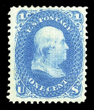 Prices of US Stamps Scott Catalog 92 - 1868 1c Franklin Grill. Cherrystone Auctions, Jul 2015, Sale 201507, Lot 2041