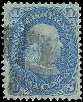 US Stamp Values Scott Catalogue # 92: 1868 1c Franklin Grill. Regency-Superior, Aug 2015, Sale 112, Lot 204
