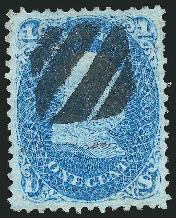 Costs of US Stamp Scott Cat. #92: 1868 1c Franklin Grill. Robert Siegel Auction Galleries, Jul 2015, Sale 1107, Lot 205