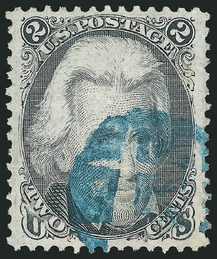 Value of US Stamp Scott Cat. # 93: 1868 2c Jackson Grill. Robert Siegel Auction Galleries, Dec 2013, Sale 1062, Lot 277