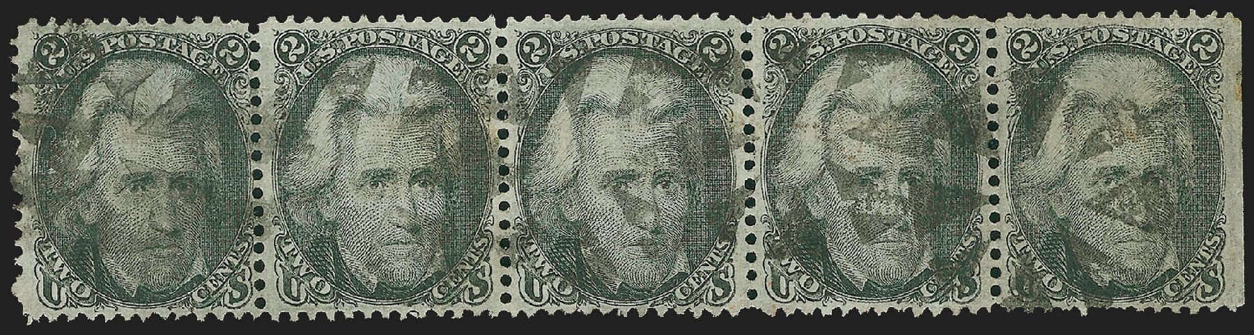 Values of US Stamp Scott Cat. # 93: 1868 2c Jackson Grill. Robert Siegel Auction Galleries, Jul 2015, Sale 1107, Lot 207