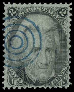 US Stamp Value Scott Catalog # 93: 1868 2c Jackson Grill. Daniel Kelleher Auctions, Jan 2015, Sale 663, Lot 1319
