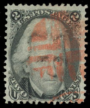 Price of US Stamp Scott Catalog 93: 1868 2c Jackson Grill. Daniel Kelleher Auctions, Oct 2014, Sale 660, Lot 2116