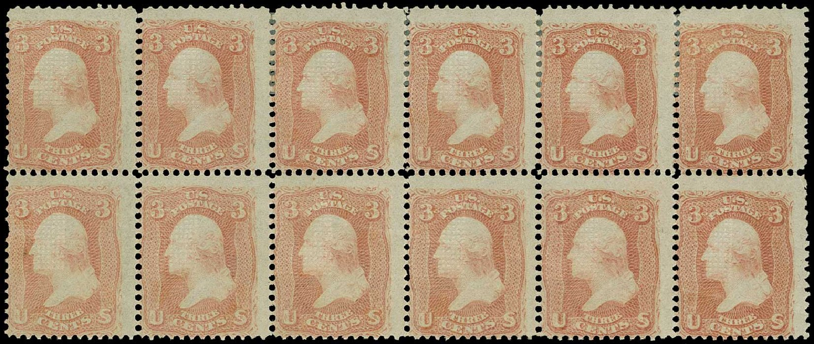 Cost of US Stamps Scott # 94 - 3c 1868 Washington Grill. H.R. Harmer, Jun 2015, Sale 3007, Lot 3169