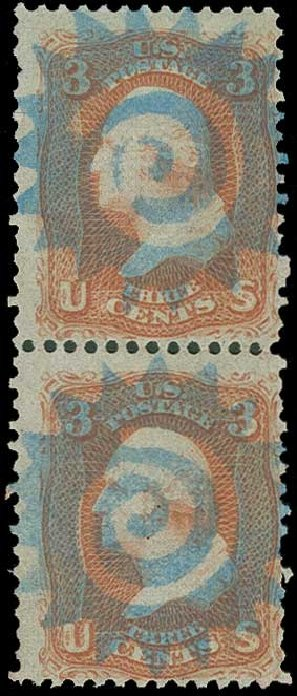 Cost of US Stamp Scott # 94 - 1868 3c Washington Grill. H.R. Harmer, Jun 2015, Sale 3007, Lot 3170