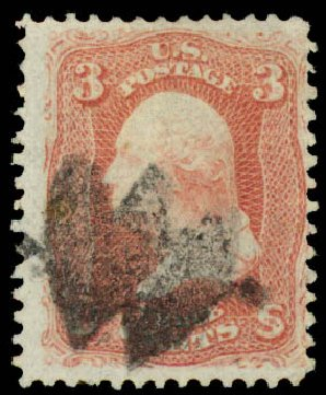 US Stamps Prices Scott # 94 - 1868 3c Washington Grill. Daniel Kelleher Auctions, May 2015, Sale 669, Lot 2540