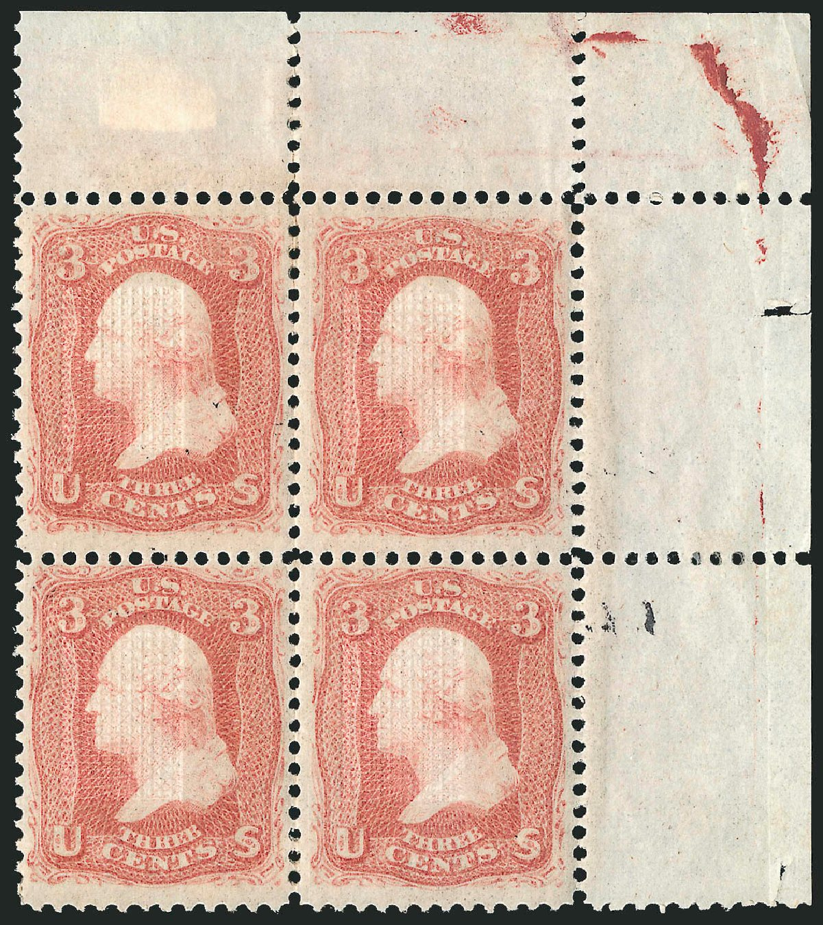 Price of US Stamps Scott Cat. # 94 - 1868 3c Washington Grill. Robert Siegel Auction Galleries, Apr 2015, Sale 1096, Lot 180