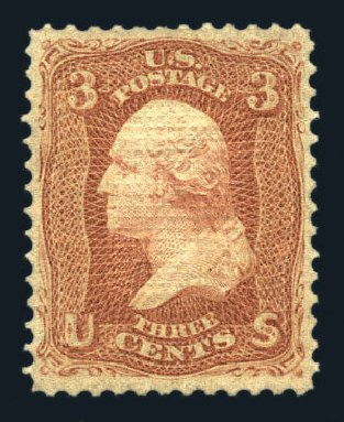 Values of US Stamps Scott 94: 1868 3c Washington Grill. Harmer-Schau Auction Galleries, Aug 2015, Sale 106, Lot 1441