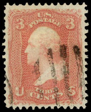 US Stamps Prices Scott # 94: 3c 1868 Washington Grill. Daniel Kelleher Auctions, Sep 2014, Sale 655, Lot 241