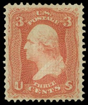 Value of US Stamp Scott Catalog # 94: 3c 1868 Washington Grill. Daniel Kelleher Auctions, Dec 2014, Sale 661, Lot 101