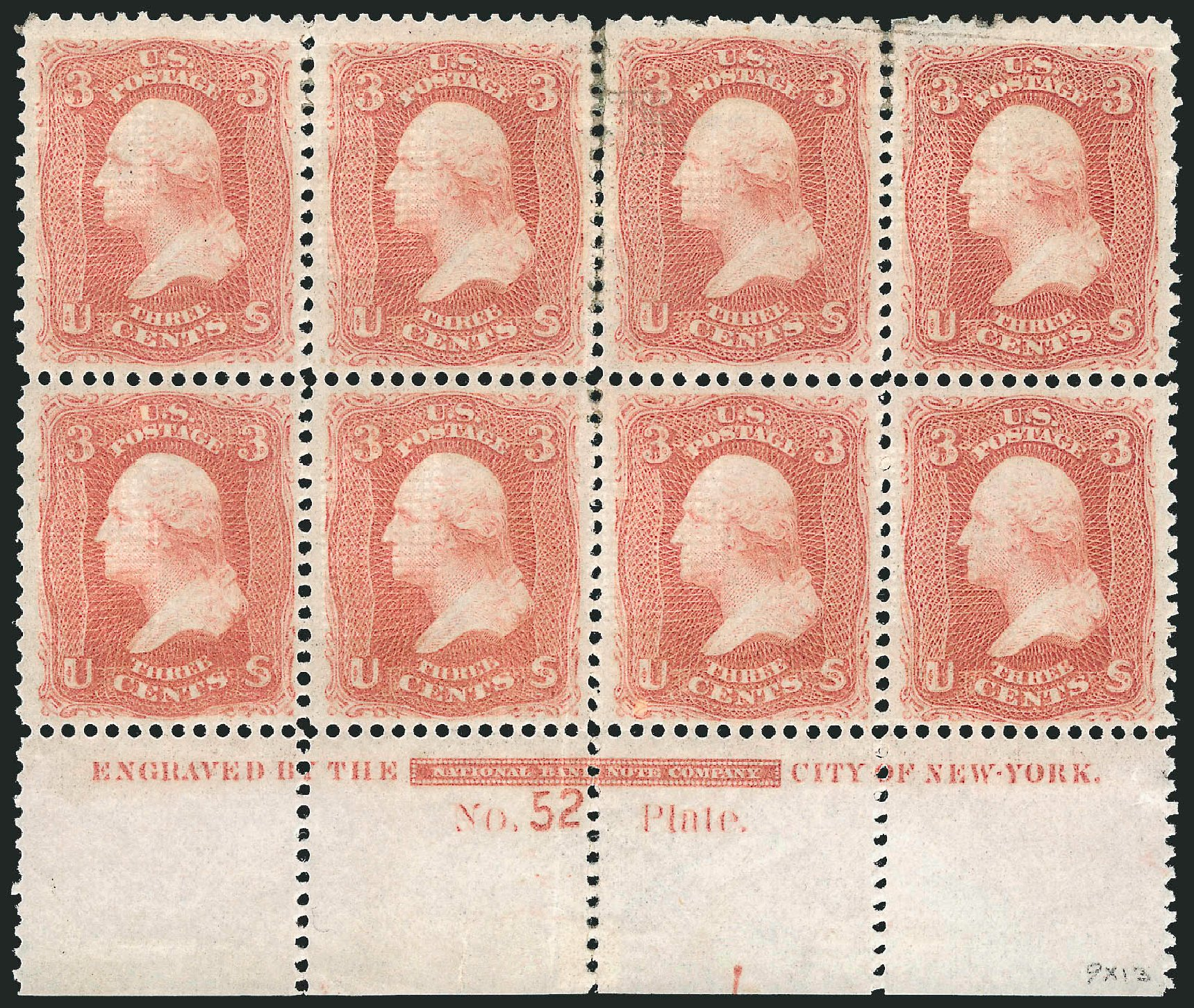 Cost of US Stamp Scott Cat. #94: 1868 3c Washington Grill. Robert Siegel Auction Galleries, Nov 2014, Sale 1084, Lot 3274