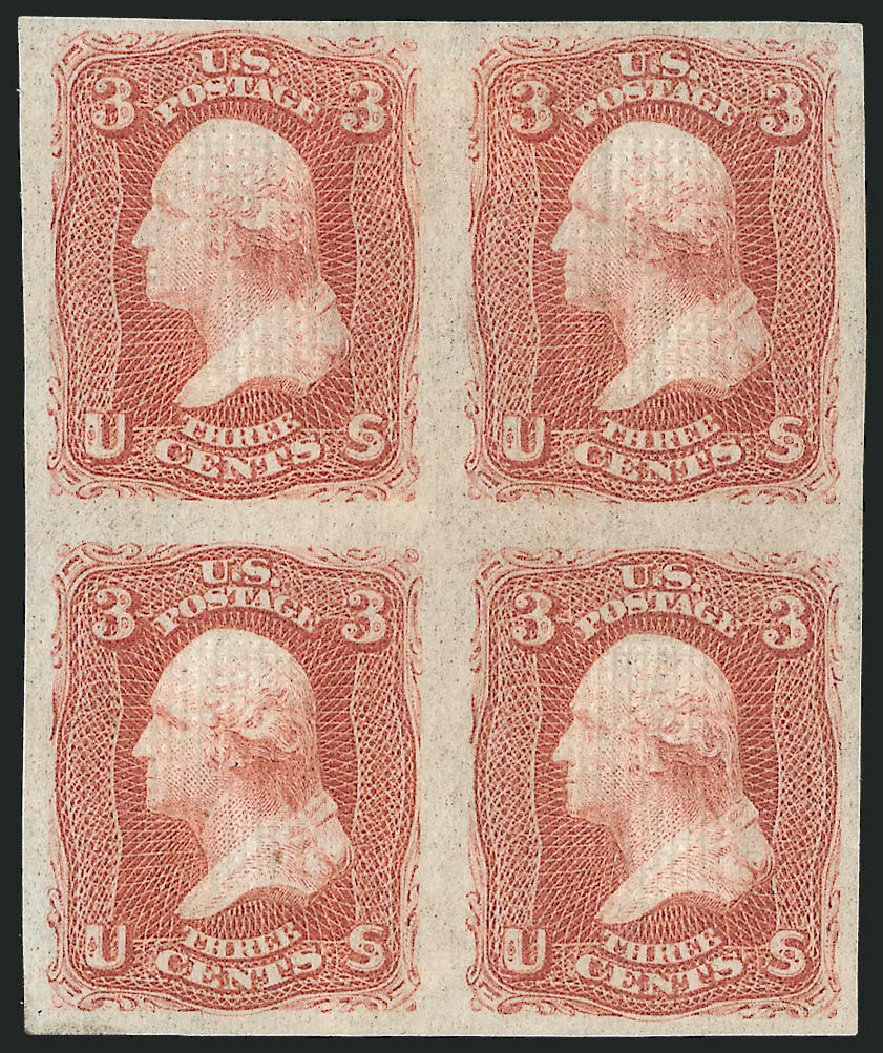 Values of US Stamps Scott Cat. #94: 3c 1868 Washington Grill. Robert Siegel Auction Galleries, Nov 2014, Sale 1084, Lot 3275
