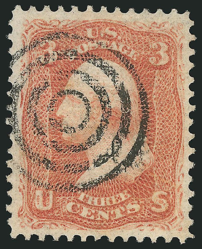 US Stamp Prices Scott Cat. 94: 3c 1868 Washington Grill. Robert Siegel Auction Galleries, Feb 2015, Sale 1092, Lot 1072