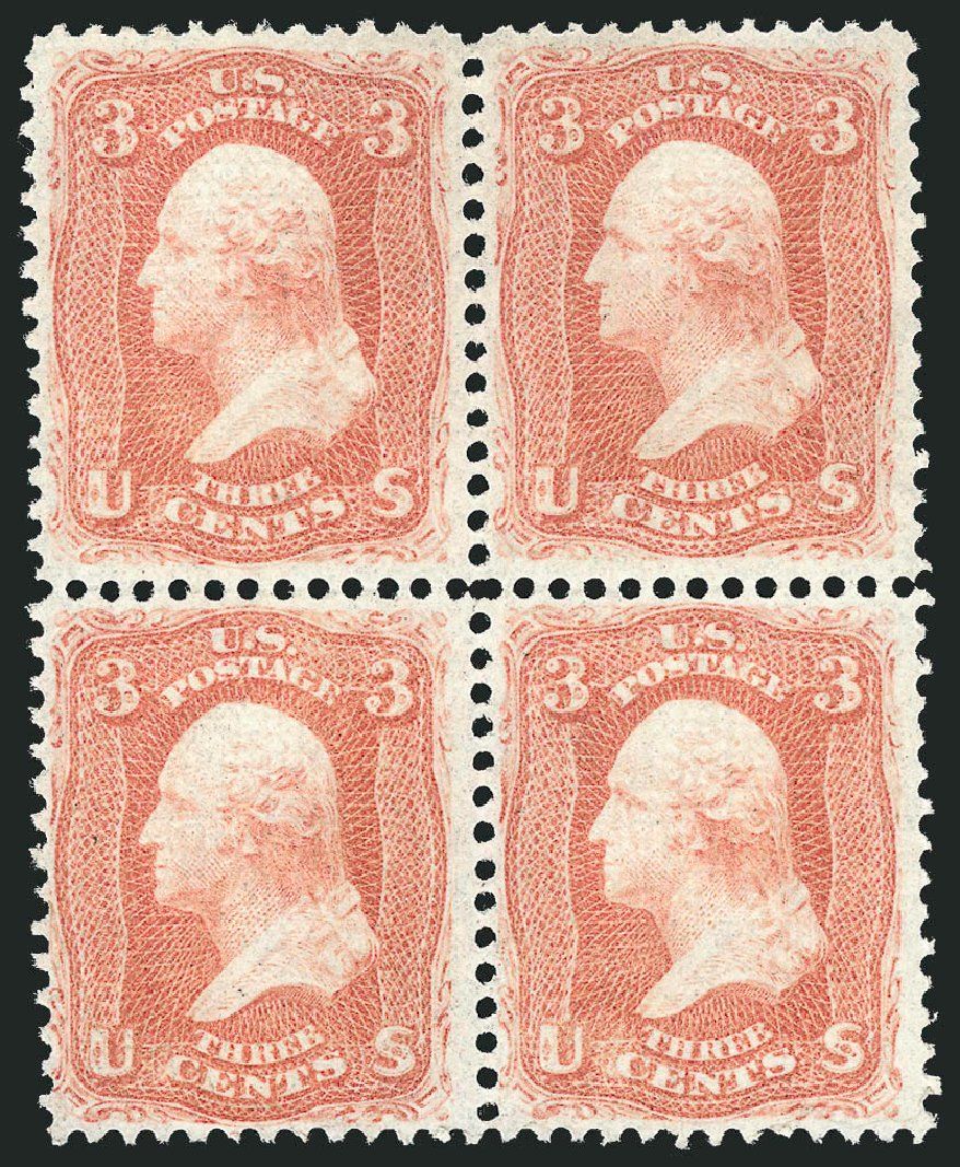 US Stamp Price Scott Catalogue 94 - 1868 3c Washington Grill. Robert Siegel Auction Galleries, Nov 2014, Sale 1084, Lot 3273