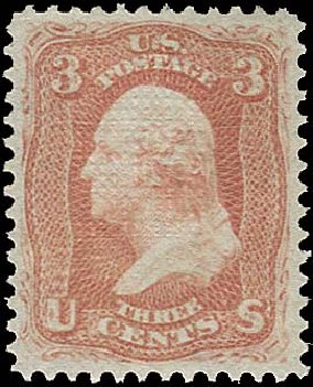 Price of US Stamps Scott Cat. 94: 3c 1868 Washington Grill. Regency-Superior, Aug 2015, Sale 112, Lot 206