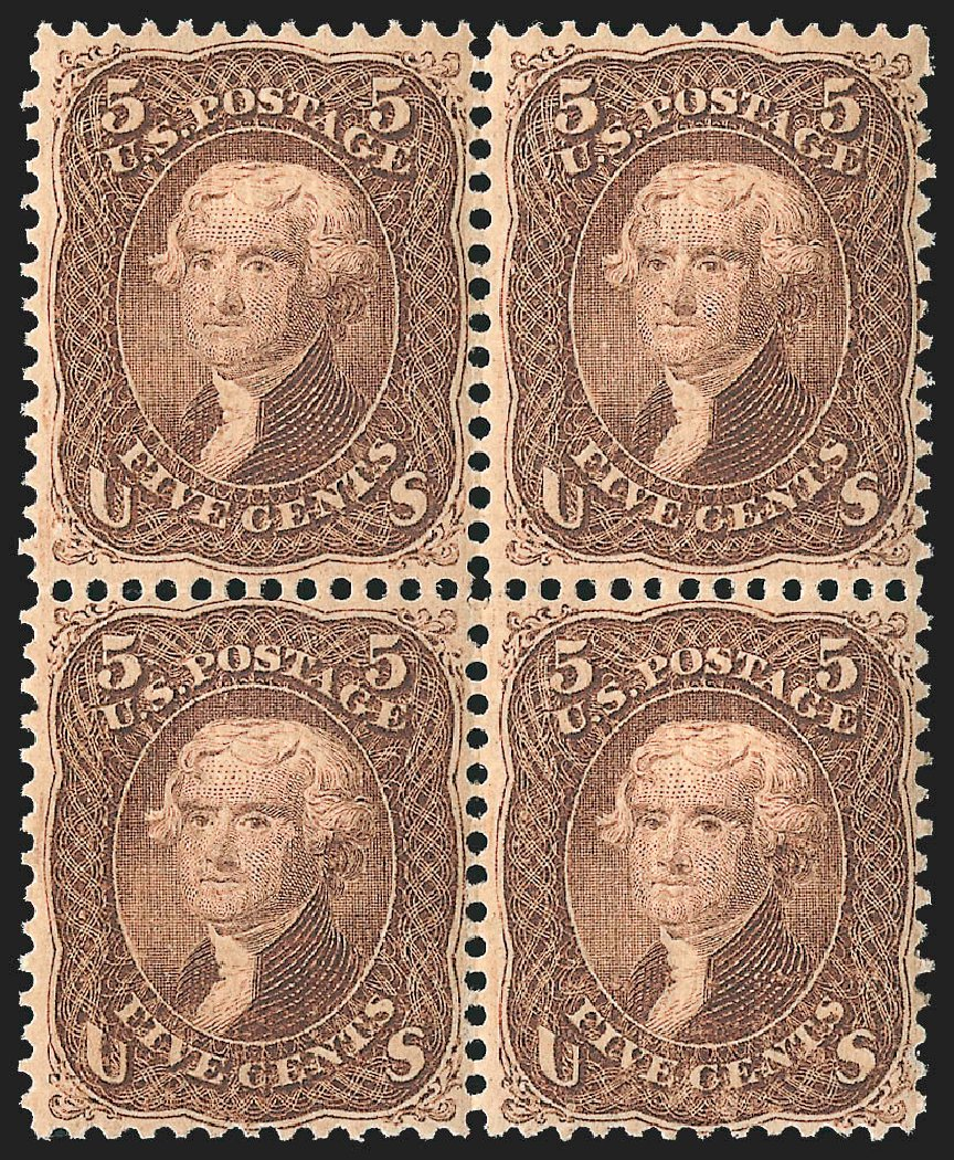 US Stamp Value Scott Catalog 95: 1868 5c Jefferson Grill. Robert Siegel Auction Galleries, Jul 2015, Sale 1107, Lot 208