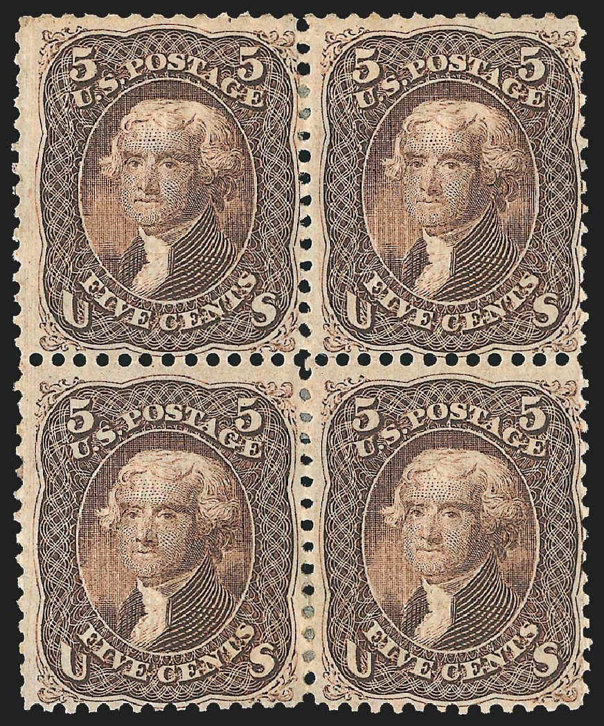 Prices of US Stamps Scott Catalog 95 - 5c 1868 Jefferson Grill. Robert Siegel Auction Galleries, Jul 2015, Sale 1107, Lot 209