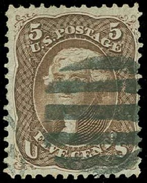 US Stamp Value Scott Cat. # 95 - 5c 1868 Jefferson Grill. H.R. Harmer, Jun 2015, Sale 3007, Lot 3171