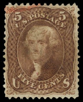 Cost of US Stamp Scott # 95: 5c 1868 Jefferson Grill. Daniel Kelleher Auctions, Jan 2015, Sale 663, Lot 1321