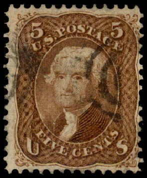 US Stamps Price Scott #95 - 5c 1868 Jefferson Grill. Daniel Kelleher Auctions, May 2015, Sale 669, Lot 2541