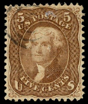 US Stamps Prices Scott Cat. #95 - 1868 5c Jefferson Grill. Daniel Kelleher Auctions, Aug 2015, Sale 672, Lot 2301