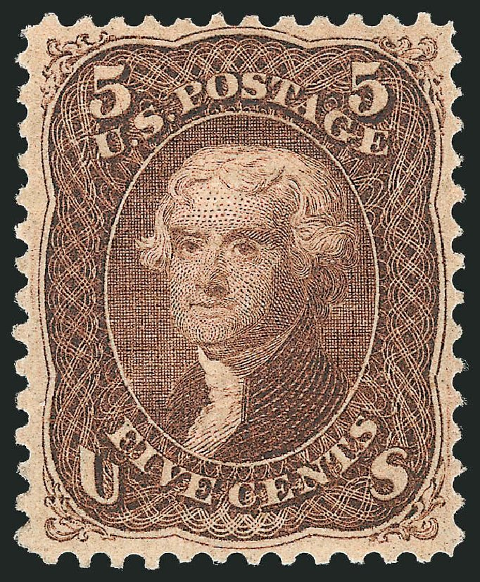 US Stamps Price Scott #95: 1868 5c Jefferson Grill. Robert Siegel Auction Galleries, Apr 2015, Sale 1096, Lot 181