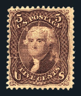US Stamp Value Scott Catalogue # 95 - 5c 1868 Jefferson Grill. Harmer-Schau Auction Galleries, Aug 2015, Sale 106, Lot 1444