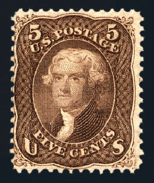 US Stamp Prices Scott Catalog # 95: 5c 1868 Jefferson Grill. Harmer-Schau Auction Galleries, Aug 2015, Sale 106, Lot 1445