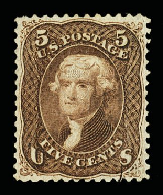Prices of US Stamp Scott Catalog # 95: 5c 1868 Jefferson Grill. Cherrystone Auctions, Jul 2015, Sale 201507, Lot 2042
