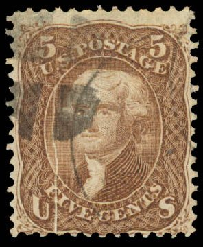 Price of US Stamps Scott Catalogue #95 - 5c 1868 Jefferson Grill. Daniel Kelleher Auctions, Aug 2015, Sale 672, Lot 2302