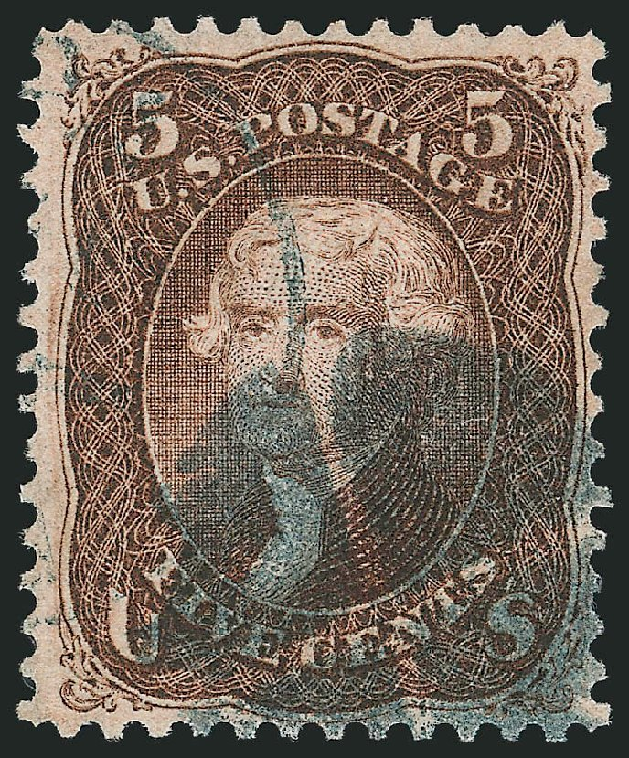US Stamps Price Scott Catalogue # 95: 5c 1868 Jefferson Grill. Robert Siegel Auction Galleries, Apr 2015, Sale 1096, Lot 183
